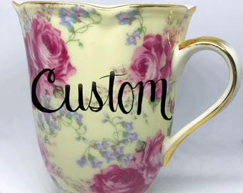FREE SHIPPING - Cheeky China, CUSTOM Yellow and Pink Coffee or Tea Cup