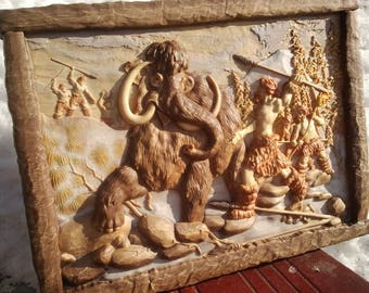 """3d STL Model for CNC  Router Engraver Carving Machine Relief Artcam Aspire """"Hunting for mammoths"""" CNC files"""