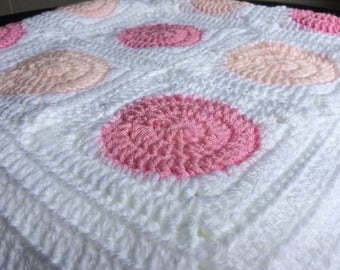 Polka Dot Crocheted Blanket
