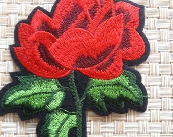Beatiful Embroider Aplique Rose red.