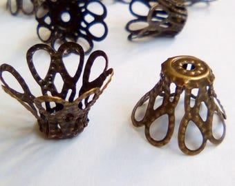 10 cups bronze metal flower 11 x 15