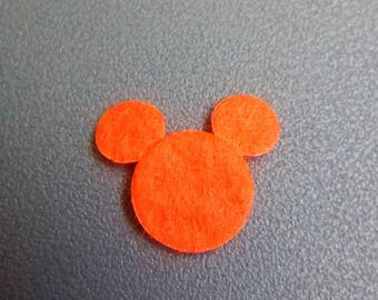 Mini applique Mickey felt orange 18x13mm