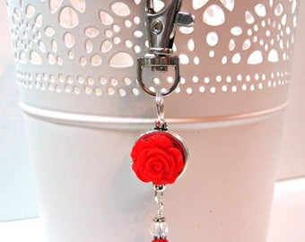 Red Rose Beaded Planner Charm - Erin Condren Planner Charm - Purse Charm - Zipper Pull - TN Charm - Travelers Notebook Charm