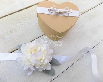 Bracelet corsage bridal wedding prom party artificial silk flowers white ivory floral bracelet ladies wrist corsage peony stephanotis