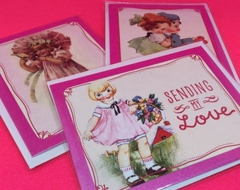 Cute handmade Valentines Day Cards set of 3 vintage style Valentine cards pink vintage inspired Valentine card for girlfriend love card