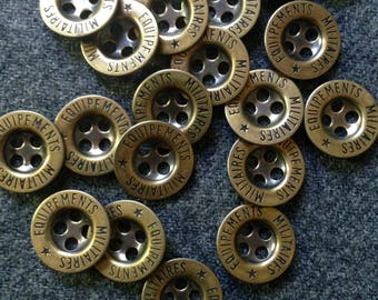 20 Vintage brass Equipements Militaires buttons
