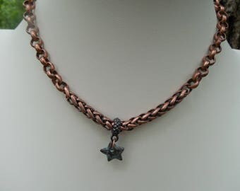 Antique Copper Wrap Bracelet And Choker Convertible jewelry With Green Patina Star Charm