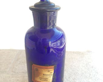 Very Rare Vintage Antique, Pharmacy Bottle, Cobalt Blue, Benzonaphtol     COBALT  APOTHECARY PHARMAC