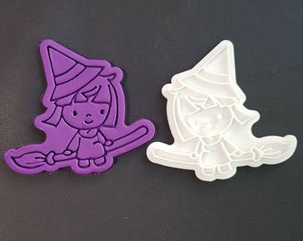 Witch on Broomstick Cookie Cutter and Stamp
