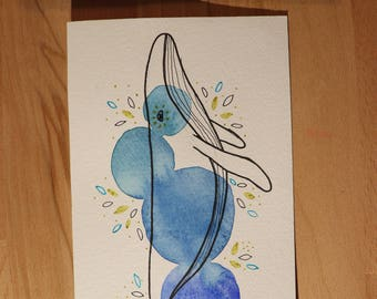 Whale watercolor card