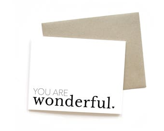 You Are Wonderful | Card || Greeting Card | Thank You Card | Love Card | Anniversary Card | Sweet Card | Simple Card | Congrats Card