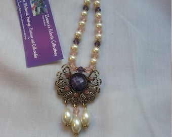 Vintage style necklace.  Pink, purple and pearl.