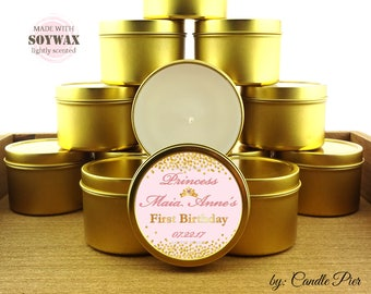 12 ct Princess first birthday favors, 4 oz tin candles, personalized soy candles, pink and gold theme