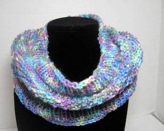 Rainbow Knitted Cowl Scarf in Acrylic Yarn