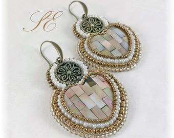 Shell mosaic earrings, boho chic earrings, ooak handmade earrings, shell earrings.
