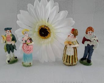 Set of Four (4) Miniature Bisque Figurines, Victorian Style, Japan