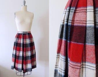 Vintage 1950s plaid skirt | 50s pleated wool skirt | schoolgirl skirt | red black white plaid skirt | uniform skirt | XS