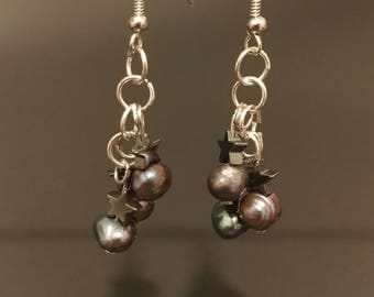 Pearls and Hematite Earrings Purple Stone.