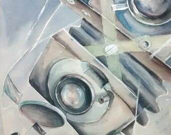 Camera Deconstruction - original watercolor - made in the USA