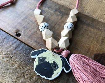 PUG LIFE necklace, pug, puggle charm necklace for girls, gift for kids