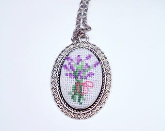 Embroidery lavender jewelry violet necklace purple jewelry embroidered necklace Cute jewelry gift for her birthday gift for womens jewelry