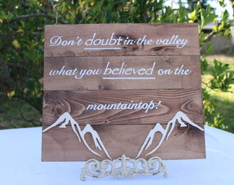 Don't doubt sign with mountain scroll saw accents