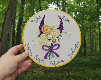 Personalized Hand Embroidered Family Floral Bouquet 8 Inch Hoop