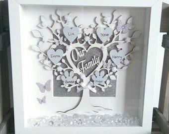 Personalised 'Our Family' Family Tree Frame, Personalised Gift, Wall Decor, Family Gift, Home Decor, Handmade Frame, Keepsake
