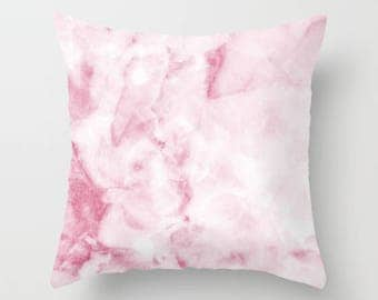 Marble Collection: Pink White Marble Pillow, Marble Accent Pillow, Blush Pink Decorative Pillow, Marble Bedroom Pillow, Marble Home Decor