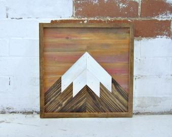 Reclaimed Wood Art | Wood Mountain Art | Salvaged Wood Decor | Rustic Wood Art | Sunset Wood Art | Snow Cap Wood Art | Snow Cap Mountain