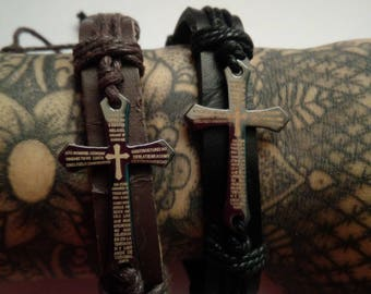 Pleather Cross bracelets