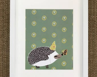 Hedgehog print, Hedgehog wall art, Nursery print, Kid's print, Cute animal print, Wall art, Kids room decor