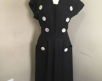 Vintage 1950s or 60s black wiggle dress. Sailor! Handmade! VLV!