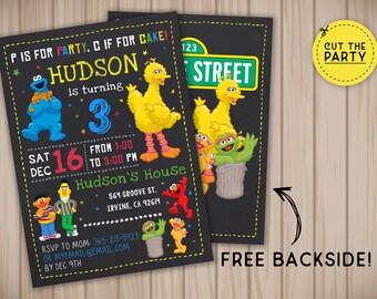 Sesame Street invitation, Sesame Street birthday invitation, Sesame Street chalkboard invitation, Sesame Street party invitation