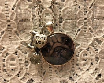 Love My Pug Charm Necklace/Pug Charm Necklace/Pug Jewelry/Pug Necklace/Pug Pendant/I Love My Pug Charm Necklace