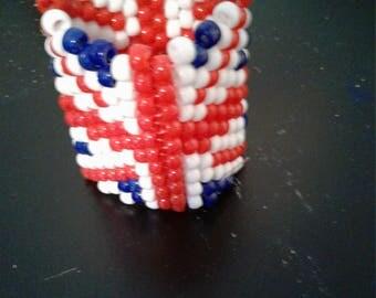 Pony Bead Bracelet British Flag