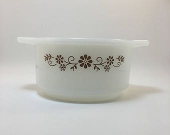 Dynaware Pyr-O-Rey Small Casserole/Serving Dish Brown Floral