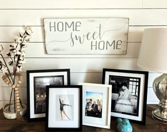 "Home Sweet Home Sign | Farmhouse Decor | Rustic Wood Sign| Rustic Wall Art| 12""X26"""