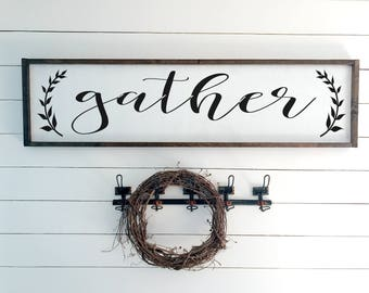 Gather Sign | Rustic Sign | Farmhouse Decor | Wooden Sign | Framed Sign | Fall Sign | Dining Room Sign