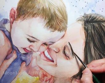 Custom Child Portrait, Custom Portrait, Child portrait, original watercolor painting, Baby painting