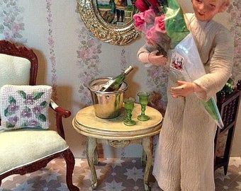 Vintage Miniture Sonia Messer Antiqued French Provencial End, or Side Table for the 1:12 Scale Dollhouse