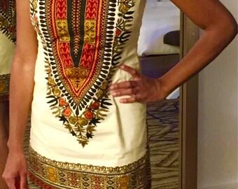 White Angelina Dashiki Ankara Dress