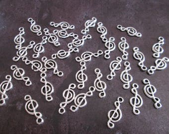 10 charms metal music clef silver 20 mm x 8 mm