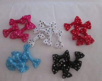 x25noeuds polka-dot fabric in 5 colors 30 x 15mm # d