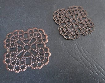 2 large prints / 35 mm copper filigree square charms