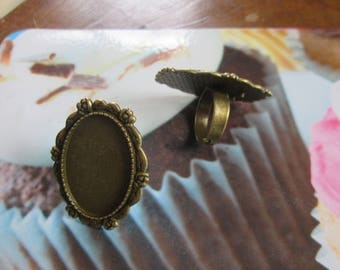 support Adjustable ring bronze cabochon 30 x 20 mm