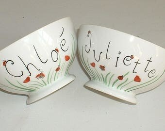 Set of 2 bowls breakfast with name, coccinnelles and poppies