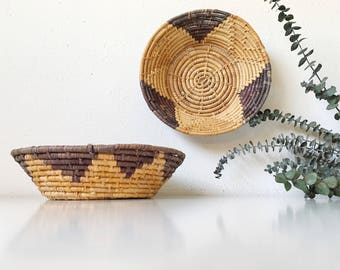 Vintage Handwoven Coil Wicker Basket Bowls + Set of 2 + Purple Gold Neutral + Bowl Southwest Tribal Bohemian Jungalow + Naturally Modern