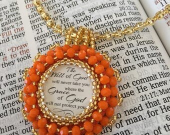 Bead embroidery necklace.  religious.  Necklace Christian.  Orange Christian necklace.