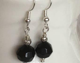 Black dangle earrings. Black drop earrings. Black earrings. Black and silver earrings. On silver wire.